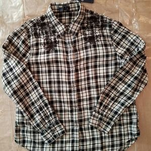 NWT,Chaps long sleeve black and white stripes, XLG